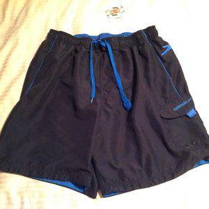 Speedo Men's Swim Trunks Black/Blue Size XL EUC